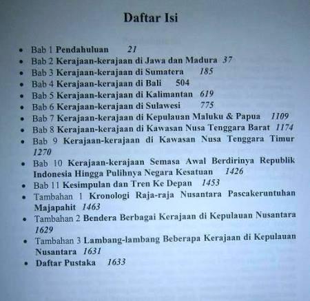 daftar isi sejarah kerajaan